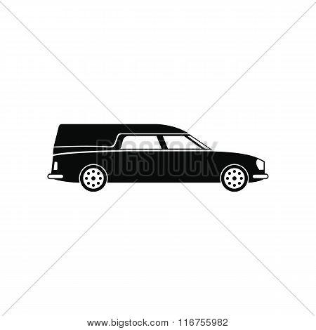 Hearse car black simple icon