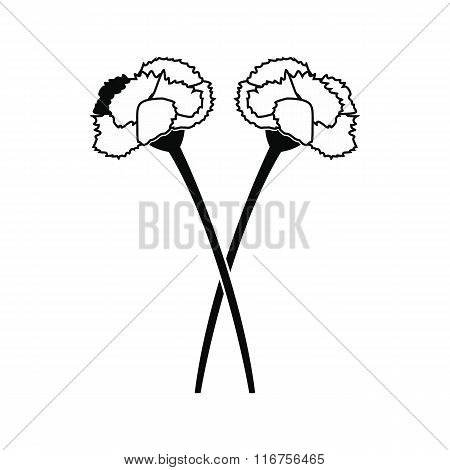 Two carnation flowers black icon