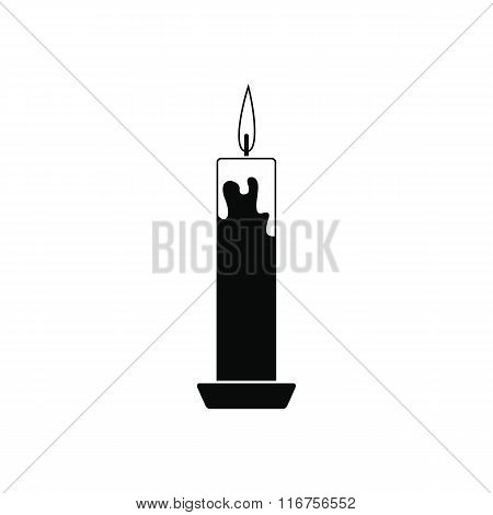 Long candle black icon