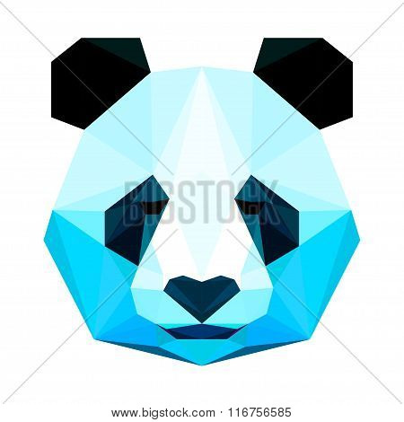 Abstract Polygonal Geometric Triangle Bright Panda Portrait Isolated On White
