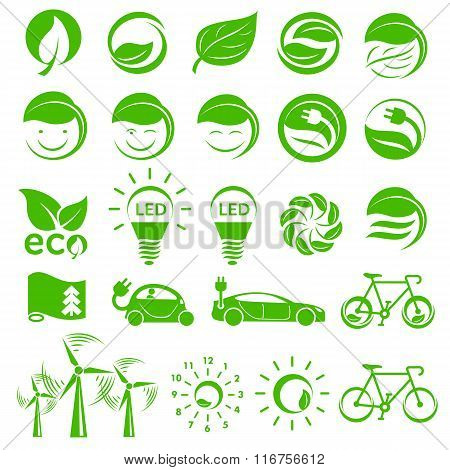 Ecology simple icons set