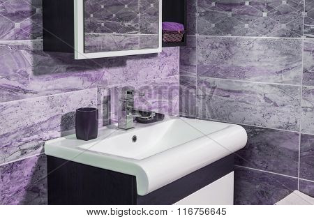 Detail Of Fashionable Bathroom In Purple And Gray Color - Sink And Mirror