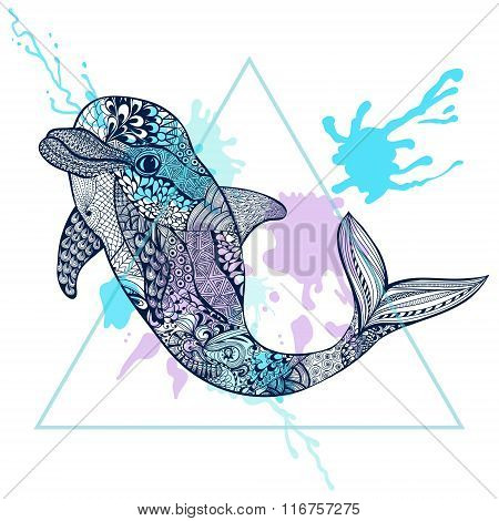 Zentangle stylized Blue Dolphin in triangle frame with watercolo