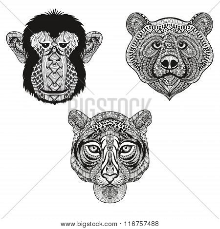 Zentangle stylized Tiger, Monkey, Bear faces. Hand Drawn doodle