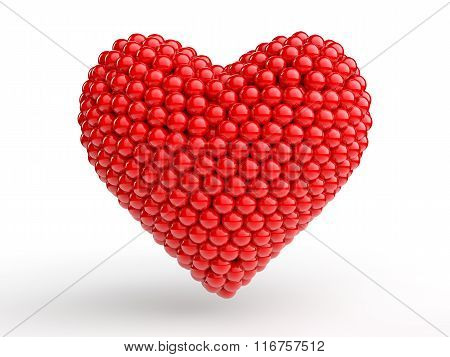 3d red spheres make a heart