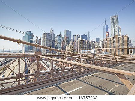 Manhattan Seen From Brooklyn Bridge, Nyc, Usa