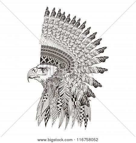 Zentangle stylized head of eagle in feathered war bannet. Hand D