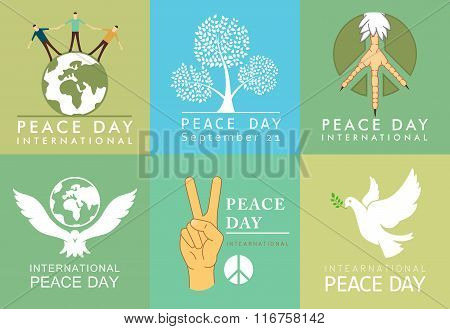 International Day of Peace symbols. Templates with a dove of peace vector illustration