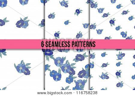 Set osix seamless patterns with blue flowers