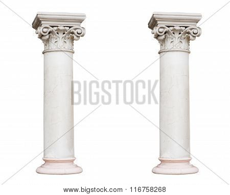 Two White Columns In The Classical Style Isolated On White Background