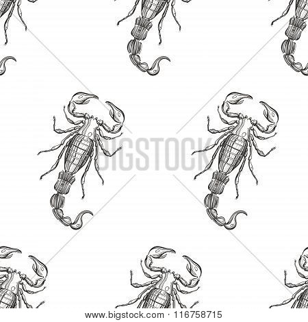 Hand drawn engraving Scorpion seamless pattern. Vector illustrat