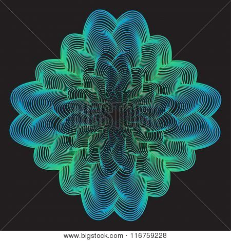 Abstract Geometric Bright Blue And Green Gradient Colored Waves Background