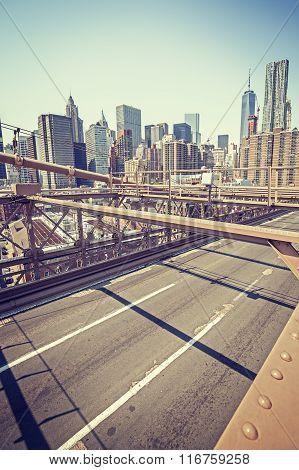 Vintage Stylized Manhattan Seen From Brooklyn Bridge, Nyc, Usa.