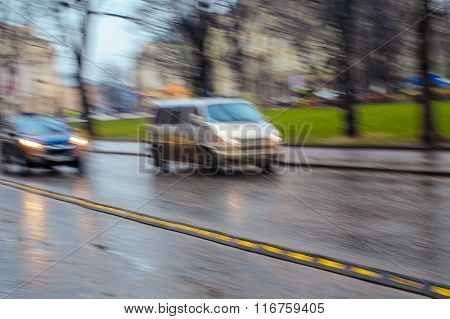 Cars On The Road In The Rain Blurred