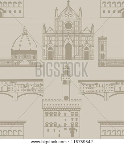 Vector Background With Landmarks Of Florence
