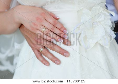 Hands Of The Groom And The Bride With Wedding Rings