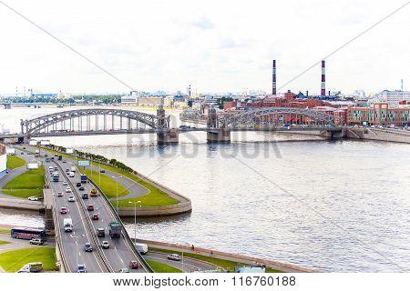 Beautiful Landscape Of Neva River And Bolsheokhtinsky Bridge