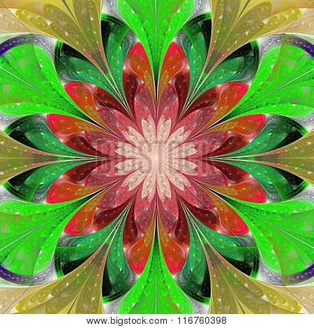 Multicolored Symmetrical Fractal Flower In Stained-glass Window Style. Artwork For Creative Design,