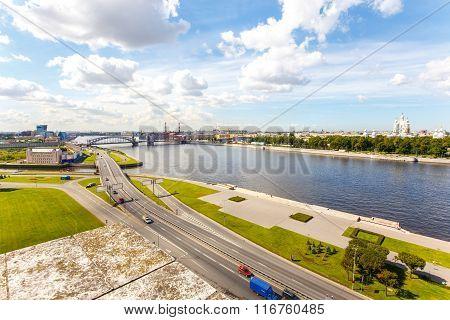 Cityscape Of Neva River And Oktyabrskaya Embankment