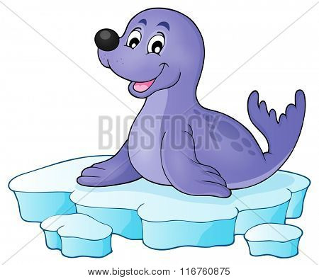 Happy seal on iceberg theme 1 - eps10 vector illustration.