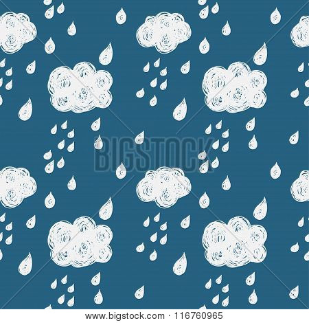 Simple Doodle Seamless Pattern Background With Clouds And Rain Drops