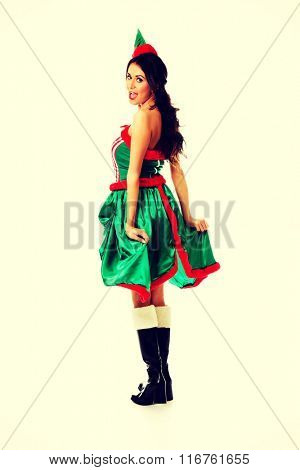 Woman wearing elf clothes