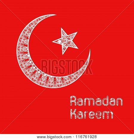 Zentangle stylized Ramadan Kareem greetings background. Ramadan