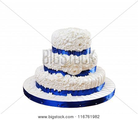Beautiful Three-layer Cake Isolated On White Background