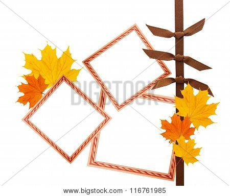 Scrapbook Composition With Design Elements And Photo Frames Plus Autumn Leaves
