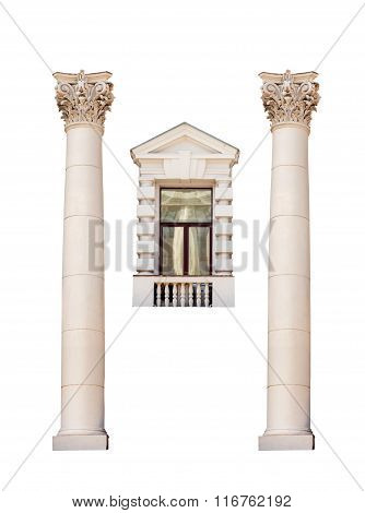 Ancient Roman Columns And A Window Isolated On White Background