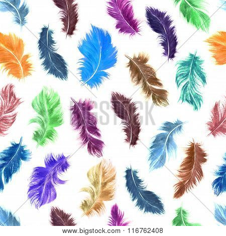 Hand Drawn Colorful Watercolor Flying Feather Seamless Pattern On White Background.