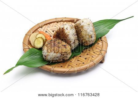 yaki onigiri, grilled rice balls, japanese food isolated on white background
