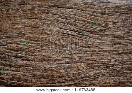 Grungy Cracked Wood Closeup Textured With Green Paint  Background