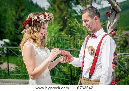 Bride Groom At The Wedding Dress Wedding Ring