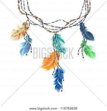 Watercolor Feather Dream Catcher On A String Of Beads