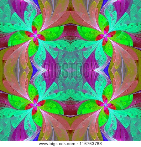 Multicolored Beautiful Symmetrical Pattern In Stained-glass Window Style. Artwork For Creative Desig