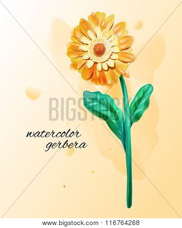 Watercolor Imitation Of Yellow Gerbera. Single Flower With Paint Drops. Vector Botany Illustration