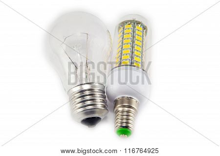 Light Bulb And Led Lamp Isolated On White