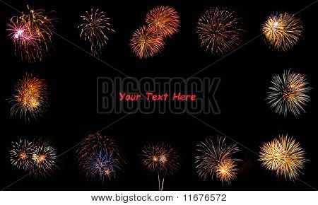 Bright Fireworks Framing A Black Space For Copy Text
