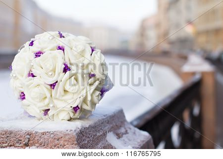 Bouquet Of White Silk Roses
