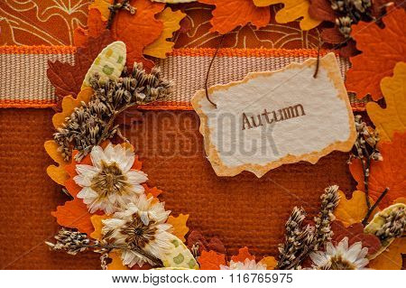 Autumn Scenery With Leaves And Tag