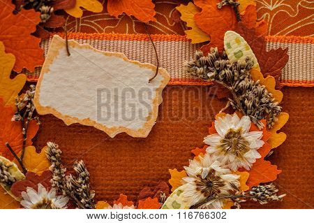 Beautiful Autumn Decor With Leaves And Tag