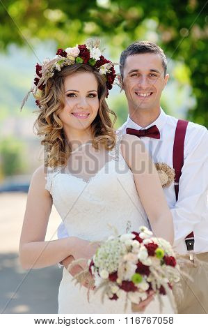 Bride And Groom At Wedding Day Walking