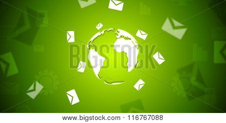 Tech banner with letters envelopes around the globe