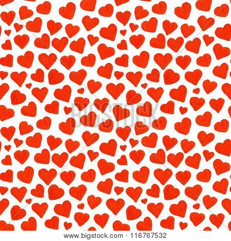Watercolor Red Hearts Saint Valentine's Day Seamless Pattern