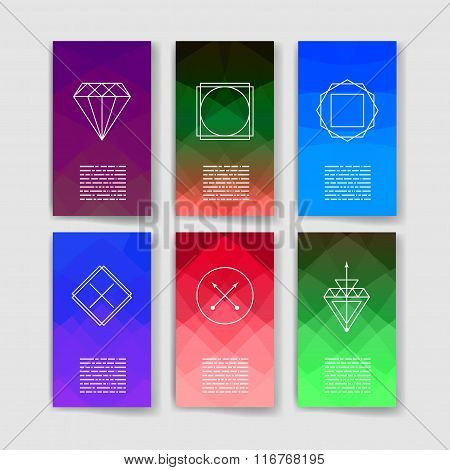 Template. Hipster style. Trendy hipster retro backgrounds and logotypes. Line Geometric Hipster Symb