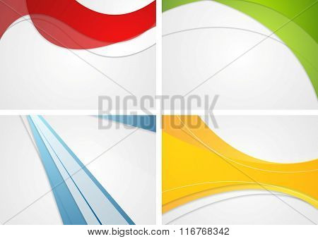 Set of abstract wavy and striped bright corporate backgrounds. Vector design illustration