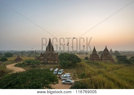 BAGAN, MYANMAR - DEC 13, 2015 : Plain of Bagan(Pagan), Mandalay, Myanmar.
