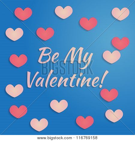 Vector valentines day design in pink and blue colors with heart with shadows. Design for greeting bi