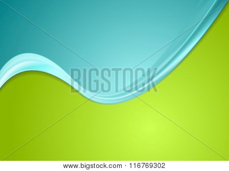 Green and cyan contrast gradient color wavy design. Vector background